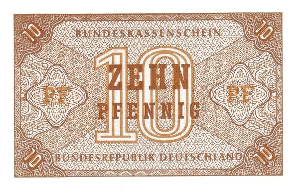 Germany 10 Pfennig (Bundeskassenschein)
