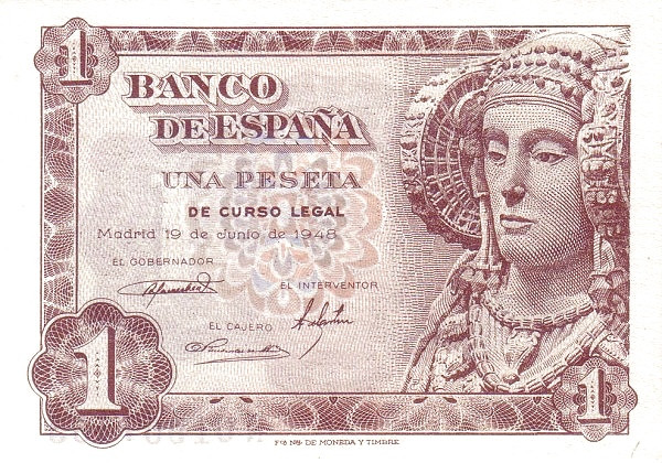 Spain 1 Peseta (Dame of Elche)