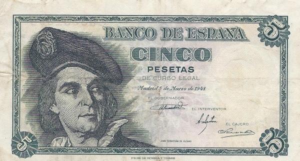 Spain 5 Pesetas (Juan Sebastian Elcano)