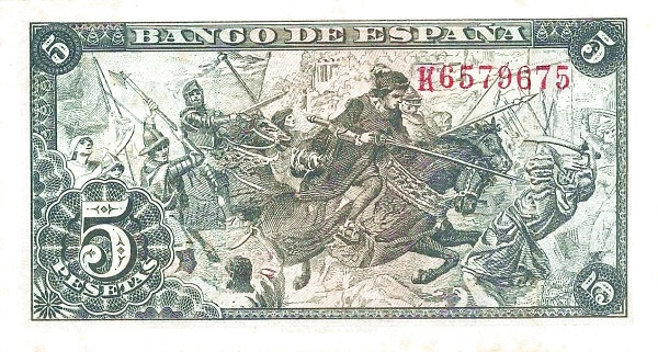 Spain 5 Pesetas (Isabel de Catolica and Columbus)