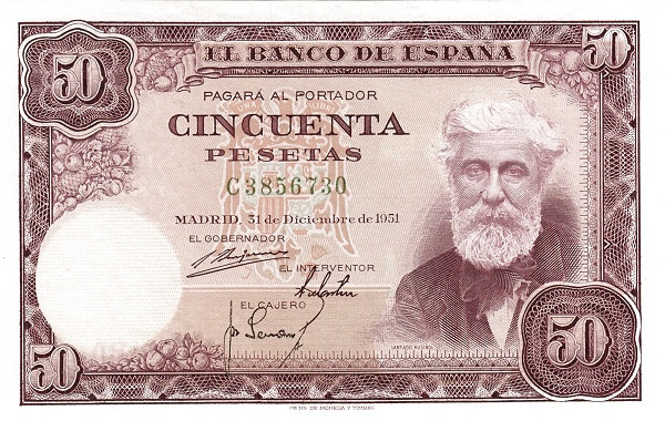 Spain 50 Pesetas (Santiago Rusinol)