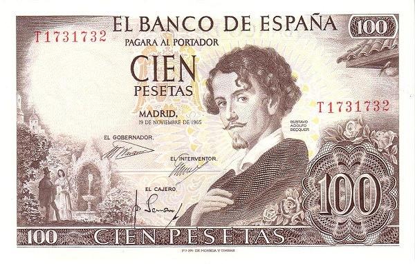 Spain 100 Pesetas (Gustavo Adolfo Becquer)