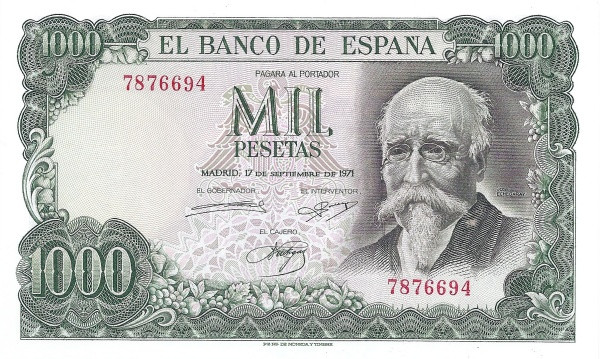 Spain 1000 Pesetas (Jose Echegaray)