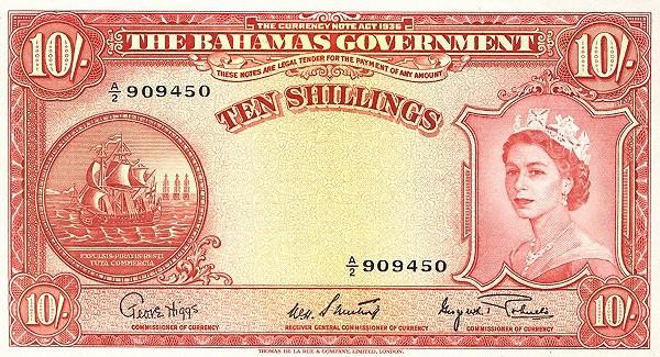 Bahamas 10 Shillings (Elizabeth II)