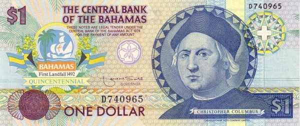 Bahamas 1 Dollar (1992-Central Bank of the Bahamas)