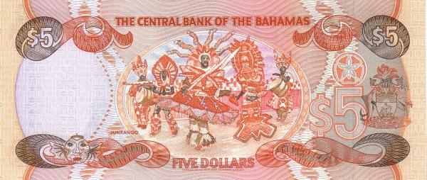 Bahamas 5 Dollars (1992-Central Bank of the Bahamas)