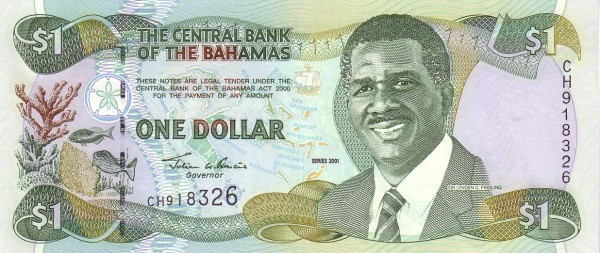 Bahamas 1 Dollar (1997, 2000,2001-Central Bank of the Bahamas)