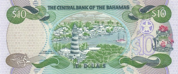 Bahamas 10 Dollars (1997, 2000,2001-Central Bank of the Bahamas)