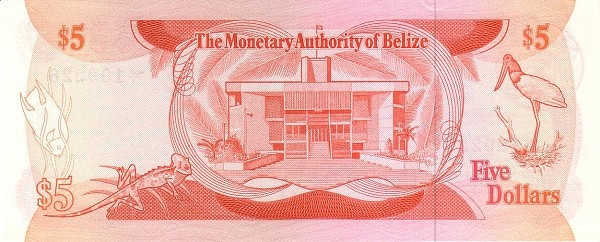 Belize 5 Dollars(Monetary Authority of Belize)