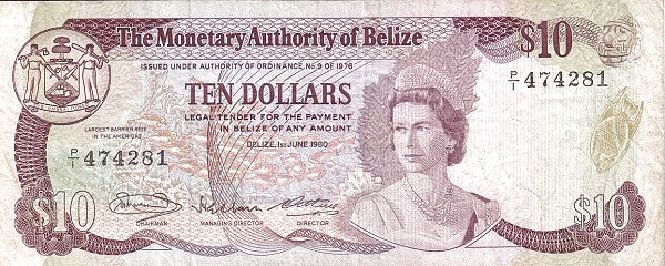 Belize 10 Dollars(Monetary Authority of Belize)