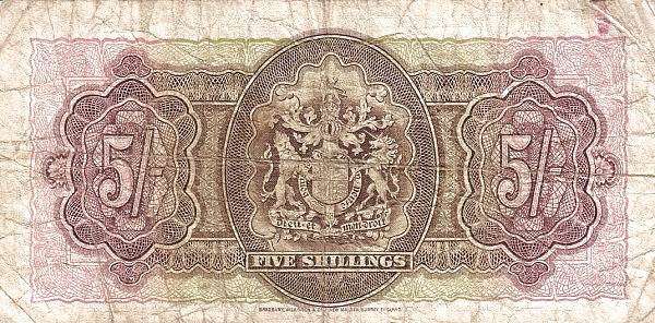 Bermuda 5 Shillings (1947-George VI-Bermuda Government)