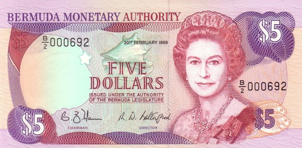 Bermuda 5 Dollars (1988-1989 Elizabeth II-Bermuda Monetary Authority)
