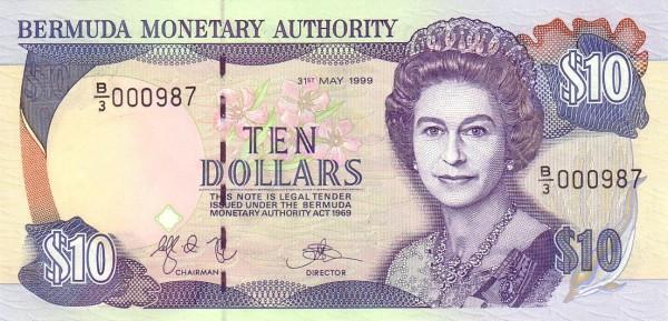Bermuda 10 Dollars (1992-1999 Elizabeth II-Bermuda Monetary Authority)