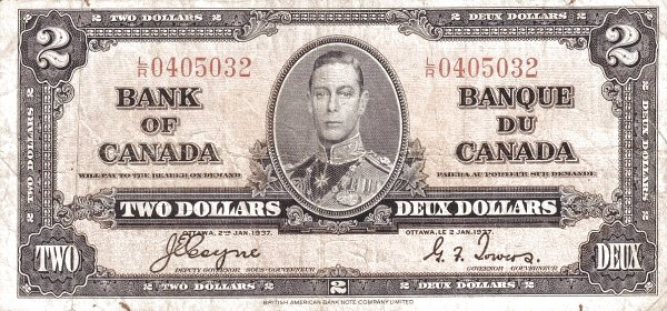 Canada 2 Dollars (1937 Bank of Canada)