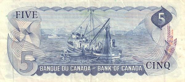 Canada 5 Dollars (1969-1975 Bank of Canada)