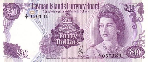 Cayman Islands 40 Dollars (1974 Cayman Islands Currency Board)