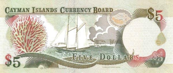 Cayman Islands 5 Dollars (1996 Cayman Islands Currency Board)