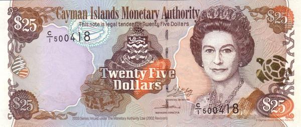 Cayman Islands 25 Dollars (2003 Cayman Islands Monetary Authority)