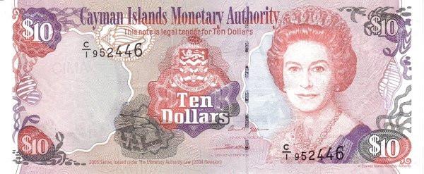 Cayman Islands 10 Dollars (2005 Cayman Islands Monetary Authority)