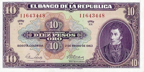 Colombia 10 Peso (1941-1963 )