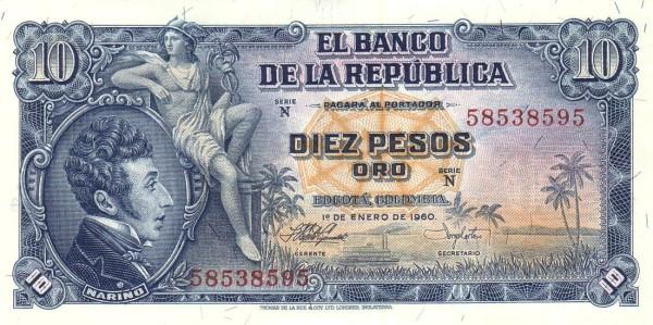 Colombia 10 Peso (1953-1967)