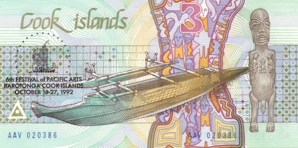 Cook Islands 3 Dollars (6th Festival of Pacific Arts)