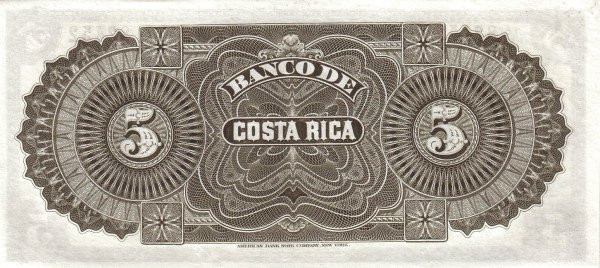 Costa Rica 5 Colones (1899 Banco de Costa Rica)