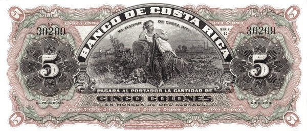 Costa Rica 5 Colones (1901-1908 Banco de Costa Rica)