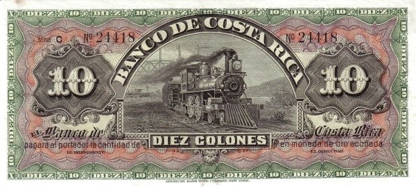 Costa Rica 10 Colones (1901-1908 Banco de Costa Rica)