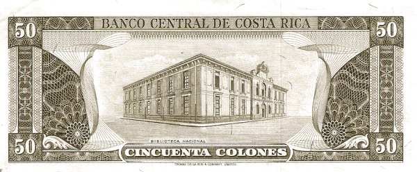 Costa Rica 50 Colones (1965-1970 Banco Central de Costa Rica)
