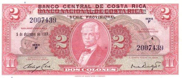 Costa Rica 2 Colones (1967 Banco Central de Costa Rica)