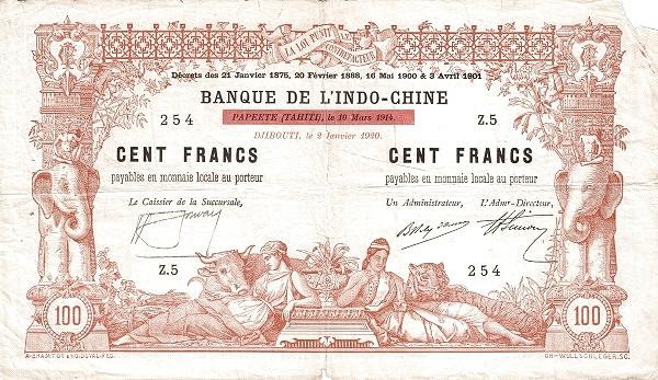 Djibouti 100 Francs (1920 Banque de l'Indo-Chine)