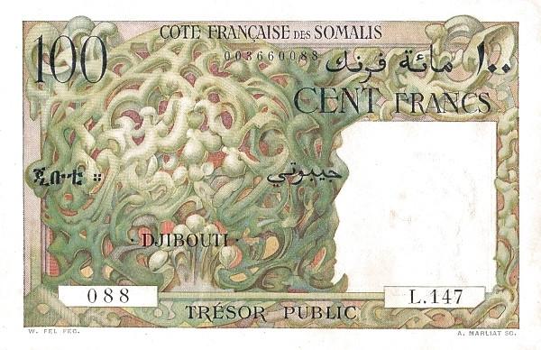 Djibouti 100 Francs (1952 Trésor Public - Côte Française des Somalis)
