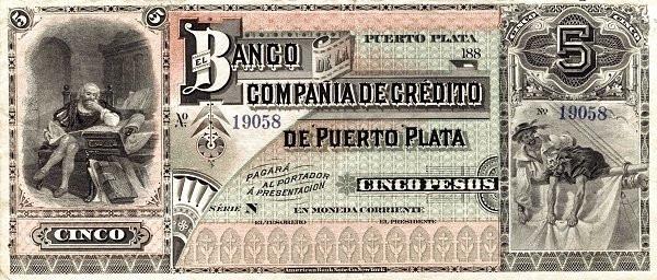 Dominican Republic 5 Pesos (Banco de la Compañia de Crédito de Puerto Plata)