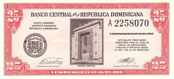 Dominican Republic 25 Centavos (1962 Banco Central de la República Dominicana)