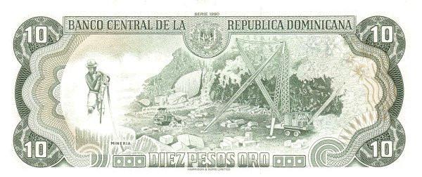 Dominican Republic 10 Pesos (1990 Banco Central de la República Dominicana)