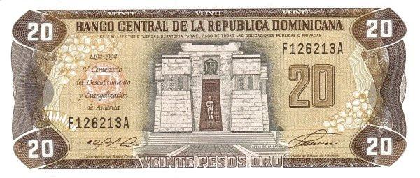 Dominican Republic 20 Pesos (1992 Banco Central de la República Dominicana)