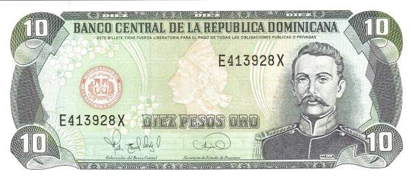 Dominican Republic 10 Pesos (1995 Banco Central de la República Dominicana)