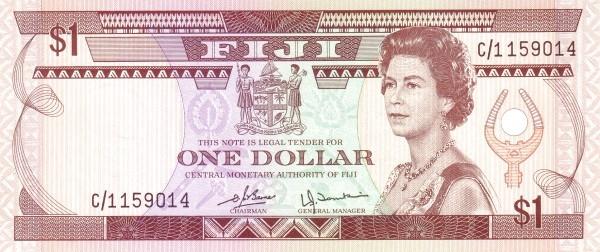Fiji 1 Dollar (1980 Central Monetary Authority of Fiji-Signature Barnes & Tomkins)