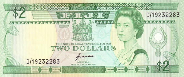 Fiji 2 Dollars (1991 Reserve Bank of Fiji-Signature Kubuabola)