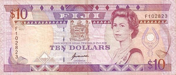 Fiji 10 Dollars (1992 Reserve Bank of Fiji-Signature Kubuabola)