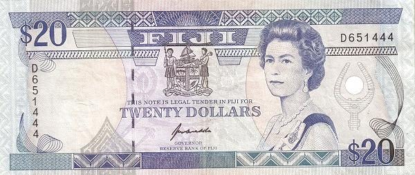Fiji 20 Dollars (1992 Reserve Bank of Fiji-Signature Kubuabola)