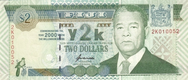 "Fiji 2 Dollars (2000 MIllennium""Reserve Bank of Fiji)"""