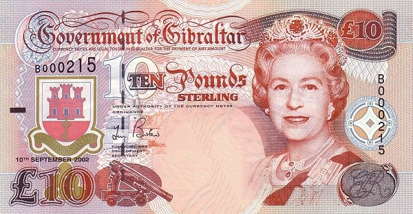Gibraltar 10 Pounds (2002 Government of Gibraltar)
