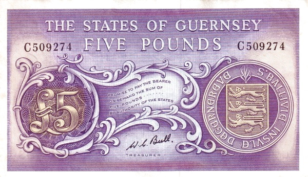 Guernsey 5 Pounds (1969-1980 Treasurer of The States of Guernsey)