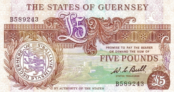 Guernsey 5 Pounds (1980 Treasurer of The States of Guernsey)