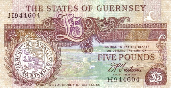 Guernsey 5 Pounds (1990-2016 Treasurer of The States of Guernsey)