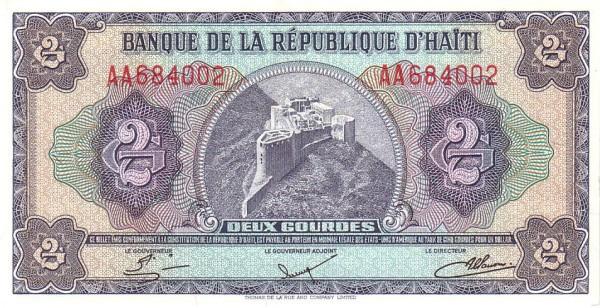 Haiti 2 Gourdes (1984-1985 Banque de la République d'Haïti)