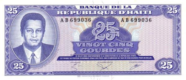 Haiti 25 Gourdes (1984-1985 Banque de la République d'Haïti)