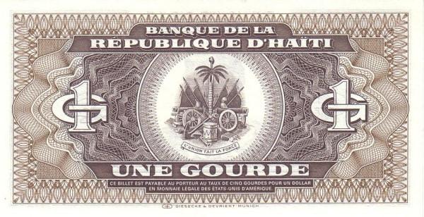 Haiti 1 Gourde (1986-1988 Banque de la République d'Haïti)